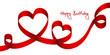"Satin Bow 2 Red Hearts & 2 Swirls ""Happy Birthday"""