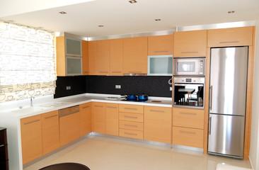 Kitchen in the apartment of luxury hotel, Crete, Greece