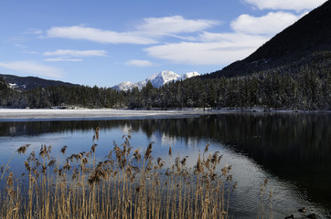 View of the Hintersee in winter, near Ramsau, Bavaria.