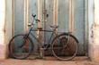 Leinwandbild Motiv altes Fahrrad mit Milchkanne