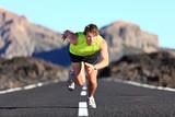 Sprinter running on road poster
