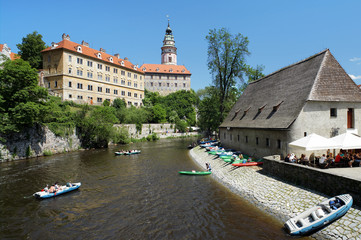 Cesky Krumlov Castle and rafting on Vltava river