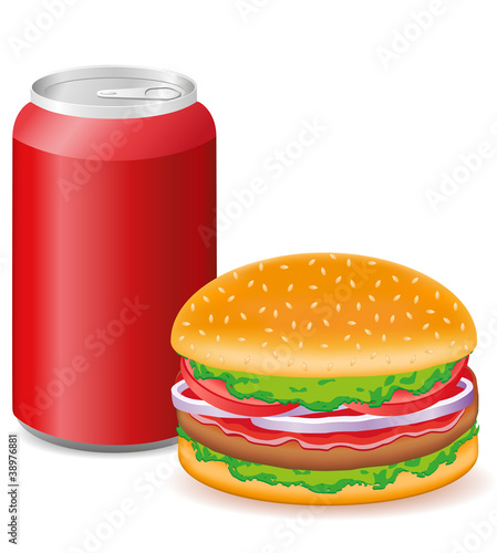 hamburger and aluminum cans with soda vector illustration