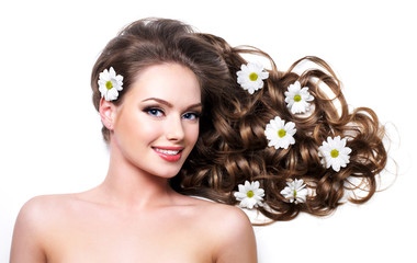 Smiling healthy woman withlong hair