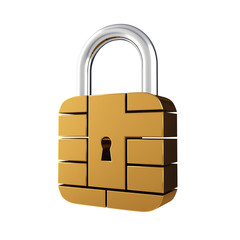 Credit card security chip padlock , isolated on white