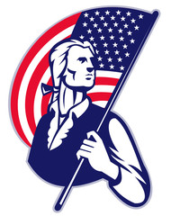 Patriot Minuteman American Stars and Stripes Flag
