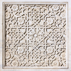 Carved ornament on the marble tile