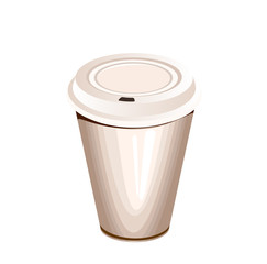 a blank white paper coffee cup with plastic lid
