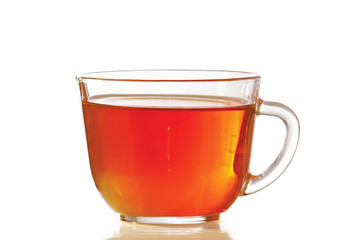 Cup of fresh tea on a white background