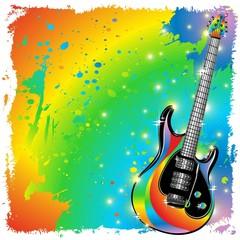 Chitarra Elettrica Colori e Pittura-Electric Guitar Paint Poster