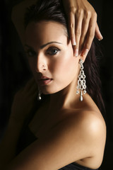 female fashion model wearing jewelery