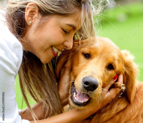 Woman with cute dog