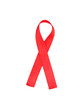 Aids awareness red ribbon isolated on white