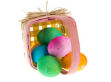 Square Easter basket with colorful dyed eggs poster