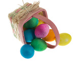 Square Easter basket spilling dyed eggs poster