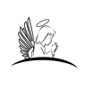 Angel praying creative logo