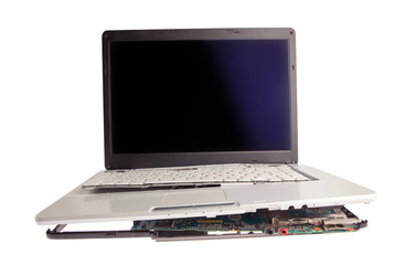 Broken laptop isolated on white