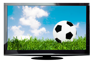 Modern plasma TV with soccer ball on screen