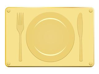 Plaque en or avec couvert en relief
