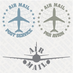 The vector image of a Set of stamps air mail