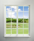 Modern residential window with lake view - 38987067