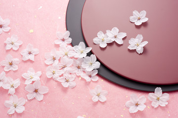 Cherry blossoms and a lacquered board