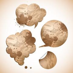 grungy paper speak bubbles