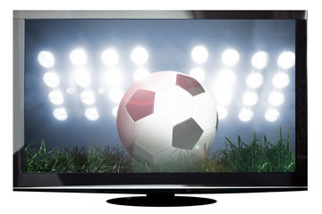 Modern plasma TV with soccer scene on the screen