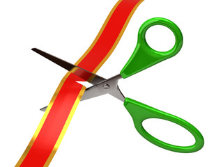 Green scissors cutting red ribbon