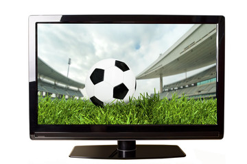 Soccer on TV concept isolated on white