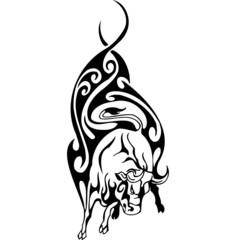 Tribal Bull - vector illustration, vinyl-ready.