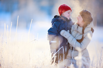 Mother and son winter portrait
