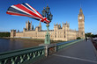 Big Ben with flag of England, London, UK