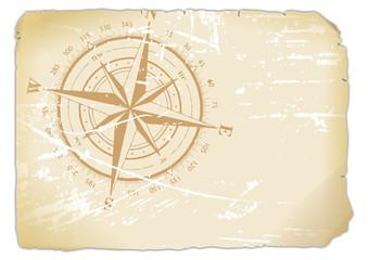 vergilbtes Blatt Papier mit aufgedrucktem Kompass