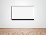 Fototapety Blank TV at the wall with clipping path for the screen