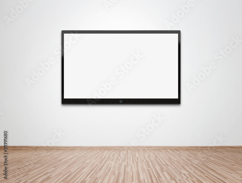 Blank TV at the wall with clipping path for the screen