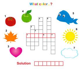 color crossword, words game for children