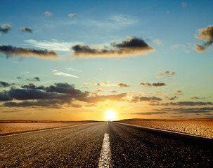 Road ahead and the sunset