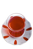 Turkish tea in traditional glass isolated on white top view
