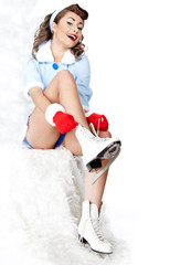 Sexy Ice Skating pin-up Woman