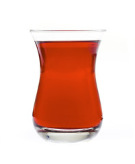 Turkish tea in traditional glass isolated on white side view