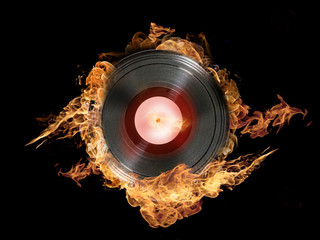 Vinyl record on fire