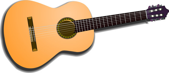 acoustic guitar, isolated on white background