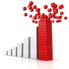 rising profit graph with building red top leader