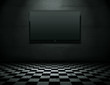 Flat screen TV in grunge empty interior with clipping path