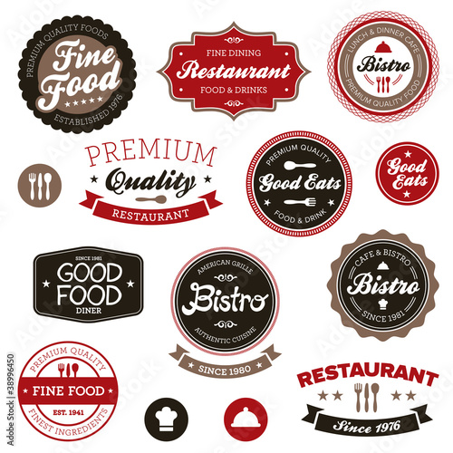 Vintage restaurant labels