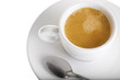 Classic espresso cup filled top view on white with spoon