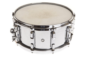 Big metal snare drum isolated on white