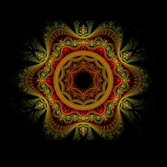 Red and Green Fractal Flower