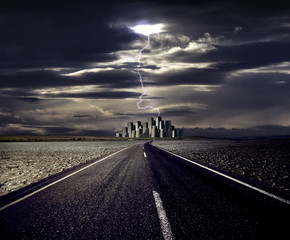 Global warming and the road to cityscape with lightning
